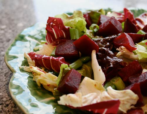 Sweet roasted beets balance out the bitter greens in this winter salad perfectly.