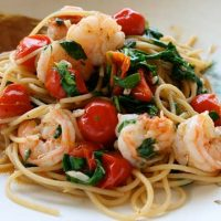 Spaghetti With Chile Shrimps And Tomatoes