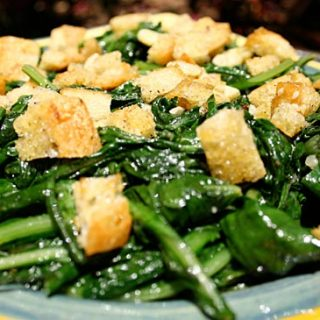 Dandelion Greens With Garlicky Croutons