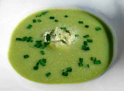 This vibrant spring soup is easy to make yet very elegant.