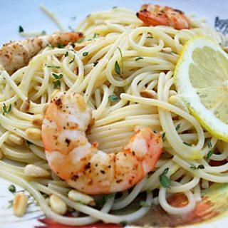Lemon Pasta With Grilled Shrimp