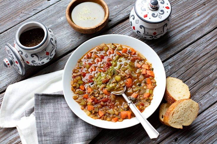 A hearty lentil and vegetable soup that was born out of cucina povera cooking.