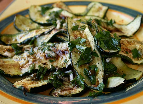 Thin strips of zucchini lightly fried and dressed with mint.