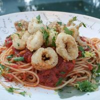 Spaghetti With Spicy Tomato Sauce And Fried Calamari