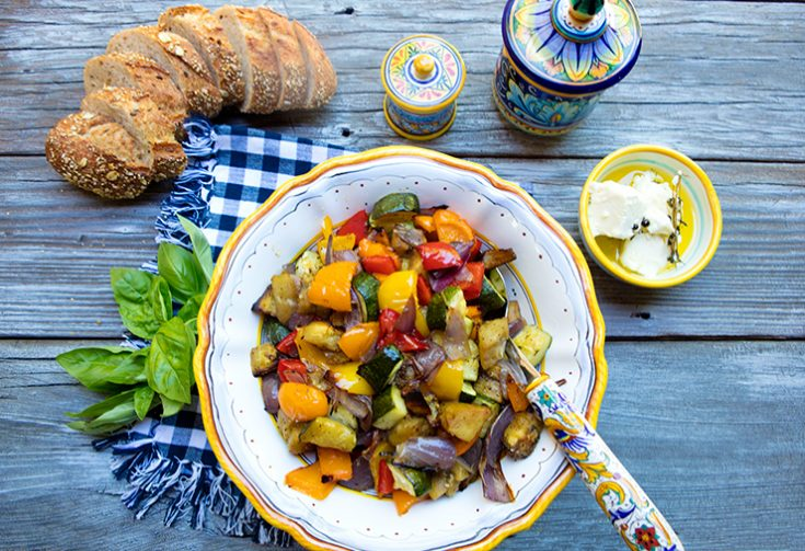 This mix of vegetables roasted to perfection can be a hearty side dish or even a meatless entree.