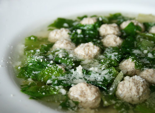 Tiny meatballs and escarole turn simple chicken broth into a special soup.