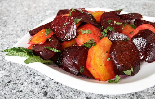 Roasting beets brings out the natural sugars creating a delicious side dish.