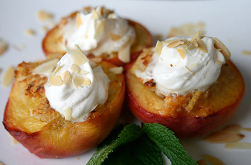 Fresh peaches stuffed with amaretti cookies are a great dessert for a special warm weather menu.
