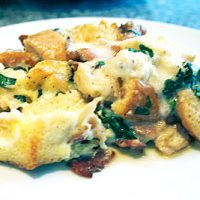 Spinach, Sausage & Goat Cheese Egg Casserole