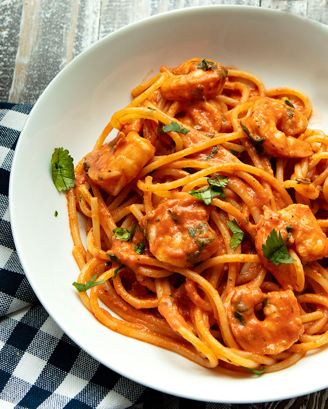 A creamy rose colored pasta sauce with shrimp that would be elegant enough for entertaining.