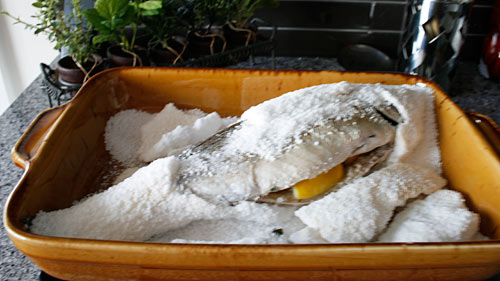 Baking a whole fish in a salt crust creates an extremely moist and tender dish.