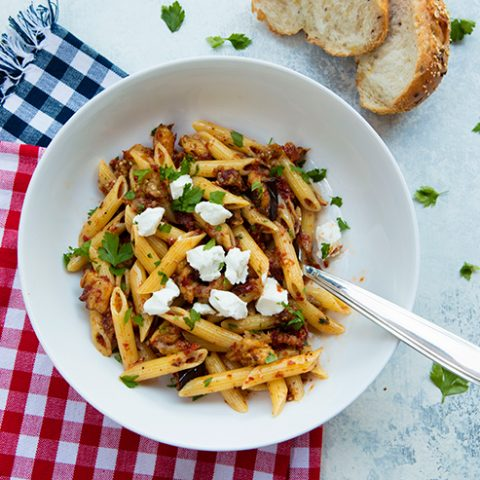 Penne Pasta With Eggplant, Sun-Dried Tomato Pesto And Goat Cheese