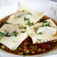 Beef Ravioli In Rich Beef Broth