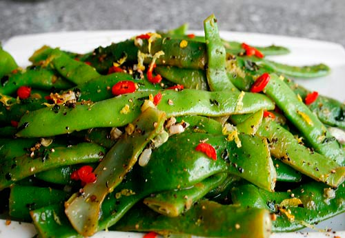 Tender crisp green beans are flavored with a lemony seasoned oil.