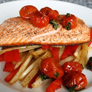 Slow Roasted Salmon With Caramelized Tomatoes