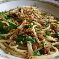 Spaghetti With Garlic, Chilies, Lemon & Crispy Bread Crumbs