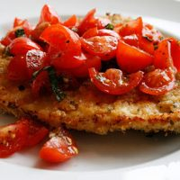 Crispy Chicken Cutlets With Fresh Tomatoes