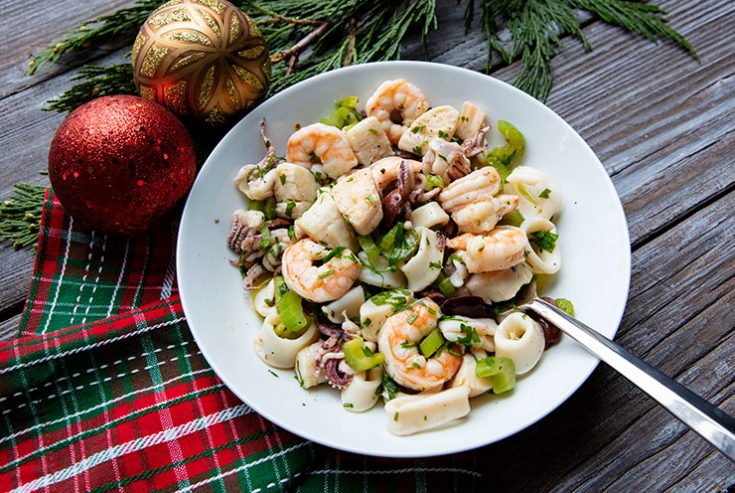 A mix of shrimp, scallops, calamari, and octopus tossed together in a zesty dressing.