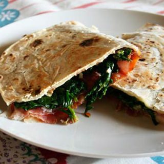 Piadina With Sauteed Greens And Prosciutto