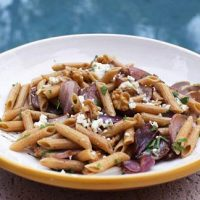 Pasta With Onions, Gorgonzola Cheese And Walnuts