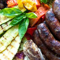 Grilled Red Wine Marinated Sausages With Vegetables