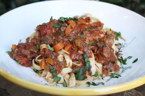 Use this hearty meat sauce on any type of pasta.