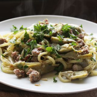 Strangozzi With Baby Artichokes And Sausages