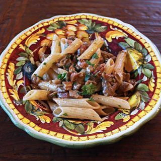 Penne Pasta With Porcini And Pancetta