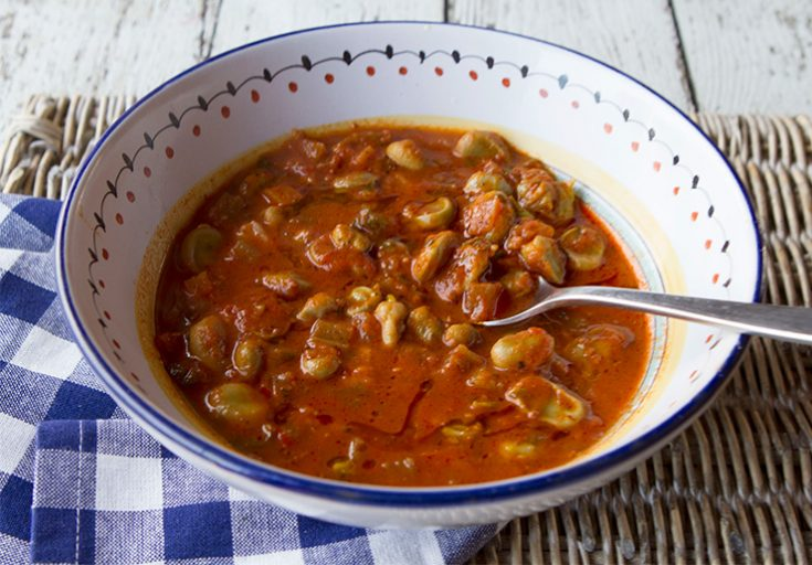 This rich fava bean stew is hearty enough to be a main course entree.