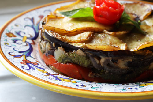 A layered vegetable dish that can be prepared ahead of time.