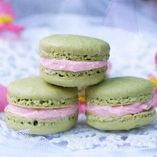 Matcha Tea Macarons With White Chocolate Strawberry Ganache