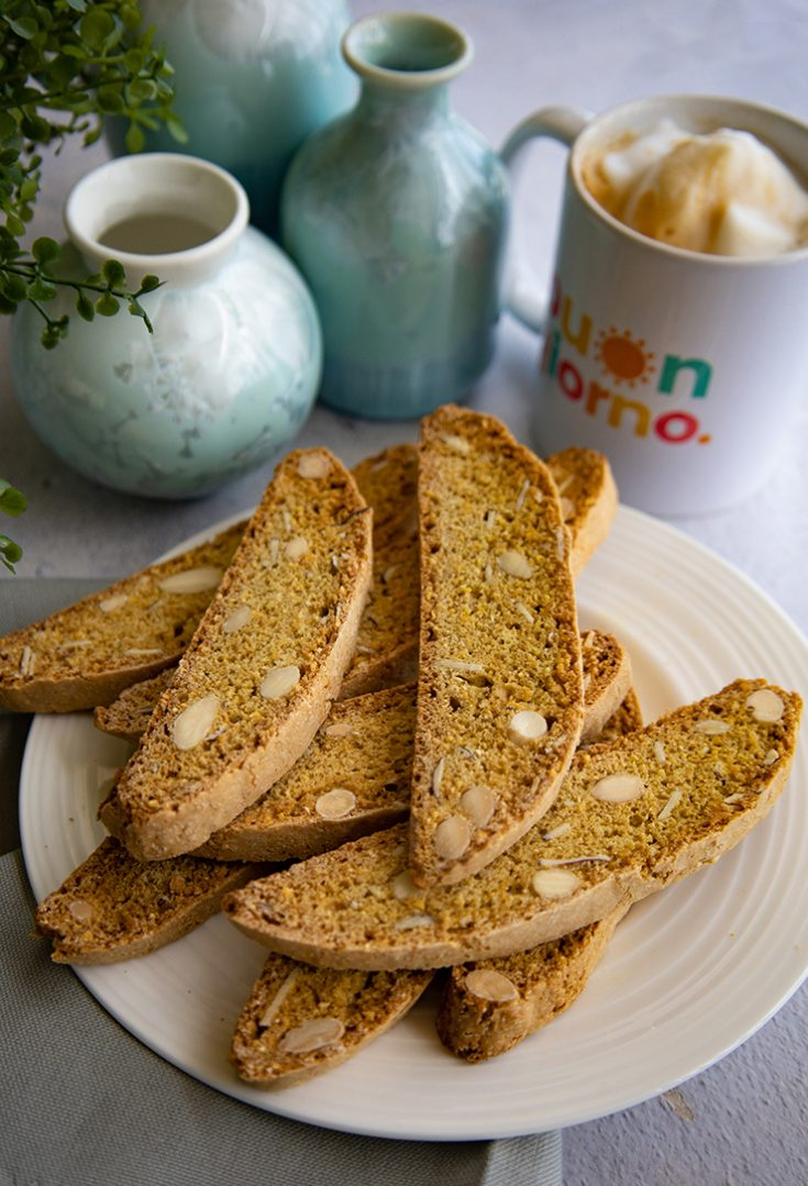 This biscotti is not too sweet, and the addition of a small amount of cornmeal along with the almonds adds additional crunch that is very satisfying.