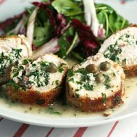 Stuffed Chicken Spirals With White Wine Sauce