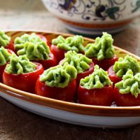 Cherry Tomatoes Stuffed With Fava Bean Puree
