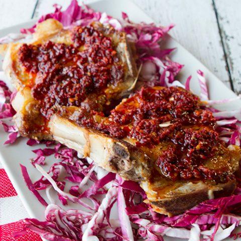 Grilled Pork Chops With Nduja & Honey