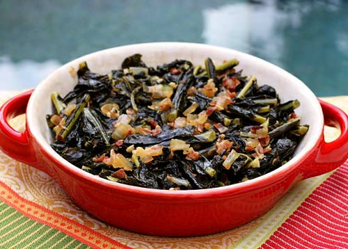 Tender braised kale flavored with onions and pancetta makes a delicious side dish for grilled or roasted meat.