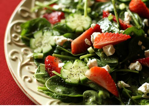 Strawberries, when in season, are a great addition to a spinach salad.