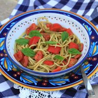 Spaghetti With Pesto And Tomato Salad