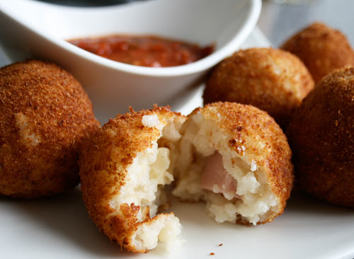 These risotto balls make great party food, and are a great way to use up leftover risotto.