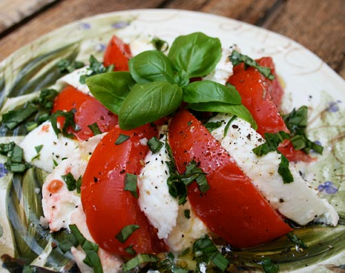 A light summer salad to enjoy when ripe, fresh tomatoes are in season.