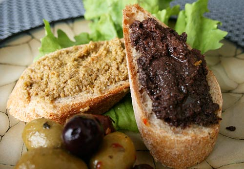 Either black or green olives can be used in this tasty spread for grilled bread.