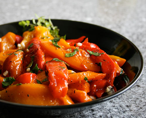Roasted peppers will keep under olive oil for at least a week although we usually eat them up long before that!