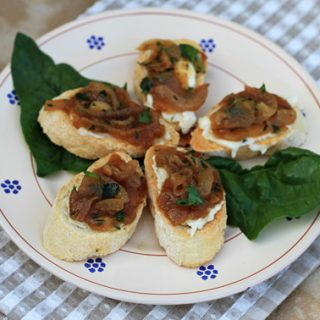 Caramelized Onion, Fig, & Gorgonzola Bruschetta
