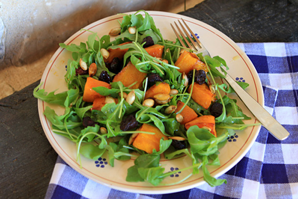 Roasted pumpkin turns an ordinary salad into a very special fall treat!