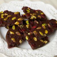 Dark Chocolate Bark With Cranberries & Pistachios