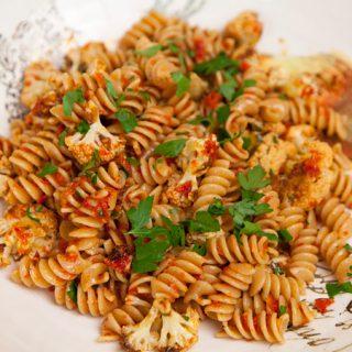 Roasted Cauliflower & Sun-dried Tomato Pasta