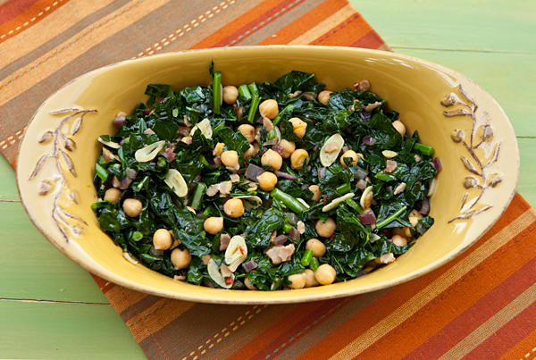 Greens prepared in this rustic manner are delicious served with grilled or roasted meats.