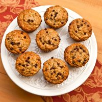 Banana Oat Muffins With Dark Chocolate Chips