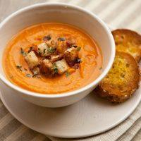 Creamy Sweet Potato Soup With Pancetta Croutons