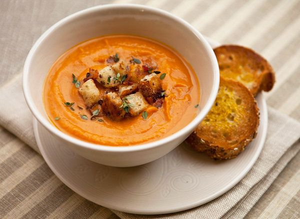 Smoked paprika combines well with the sweetness of the potatoes in this creamy soup.